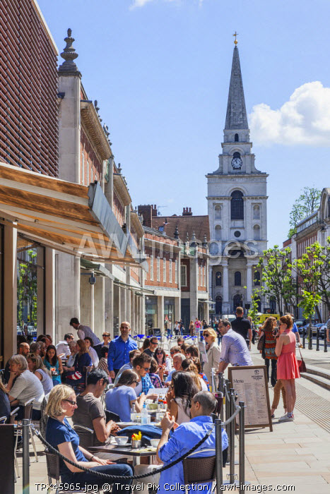 England, London, Tower Hamlets, Spitafields, Spitafields Market, Outdoor Coffee Shop and Restaurant