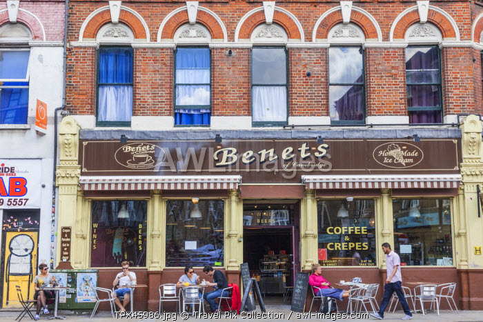 England, London, Tower Hamlets, Spitafields, Benets Coffee and Crepes Restaurant