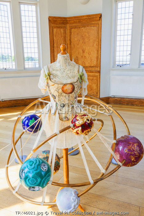 England, London, Greenwich, Royal Observatory, Flamsteed House, Octagon Room, Orrery Gown belonging to Margaret Maskelyne