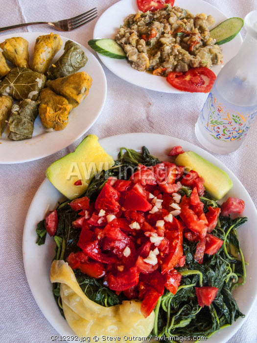 Greek Cuisine. Horta or Wild Greens, Courgettes with Rice, Stuffed Cabbage Leaves Dolma and Melitzana (Aubergine ) Salad