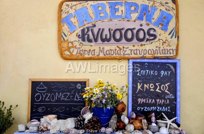 Colourful Taverna Sign/Menus, Rethymnon Old Town, Crete, Greece