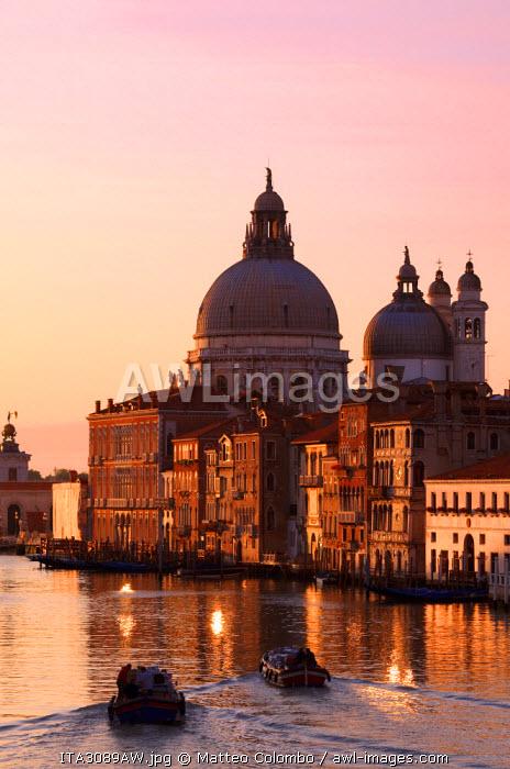 Italy, Venice. Santa Maria della salute church on the grand canal at sunrise