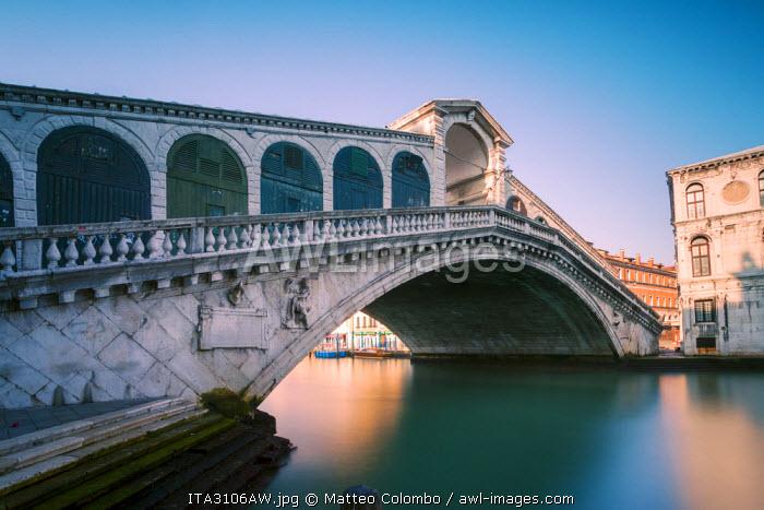 Venice, Italy. Rialto bridge in the morning