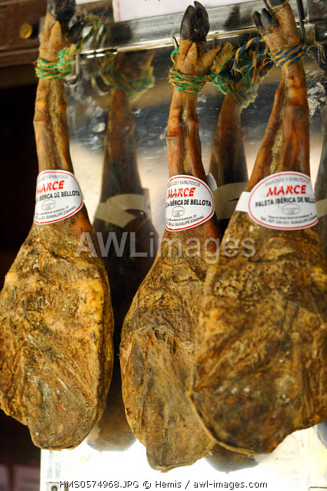 Spain, Extremadura, Guadalupe, Pata Negra, dry ham typical of the region