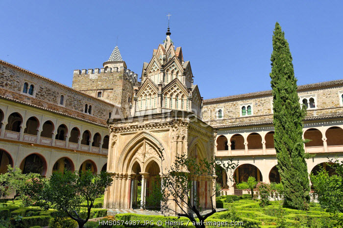 Spain, Extremadura, Guadalupe, Royal Monastery of Santa Maria de Guadalupe listed as World Heritage by UNESCO, Mudejar cloister built in the 15th century