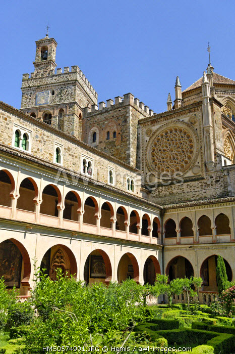 Spain, Extremadura, Guadalupe, Royal Monastery of Santa Maria de Guadalupe listed as World Heritage by UNESCO, Mudejar cloister of the 14th century