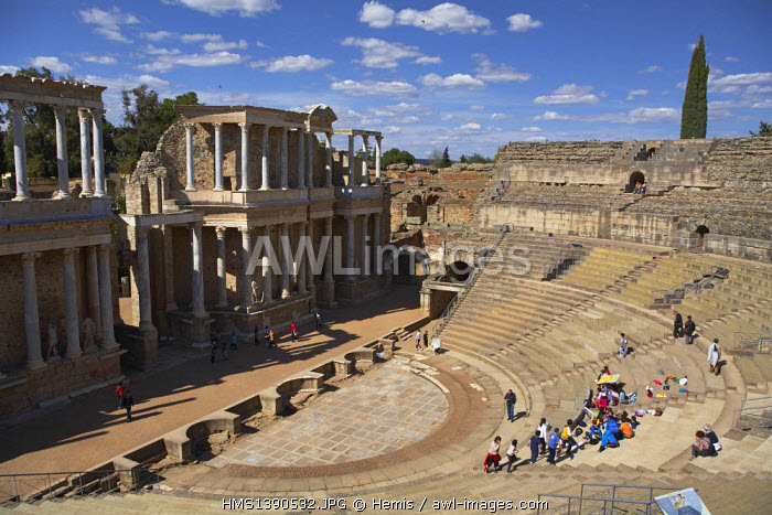 Spain, Extremadura, Merida, Roman theater listed as World Heritage by UNESCO