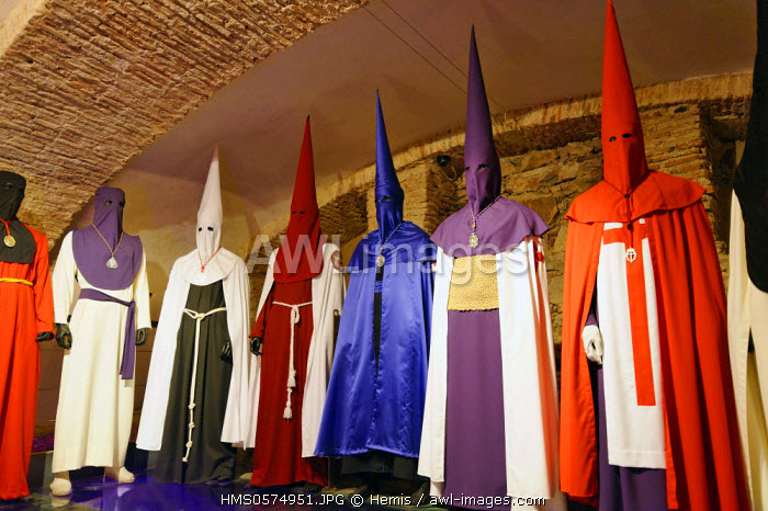 Spain, Extremadura, Caceres, old town listed as World Heritage by UNESCO, crypt of San Francisco Javier, Museum of Holy Week, celebrations traditional costumes