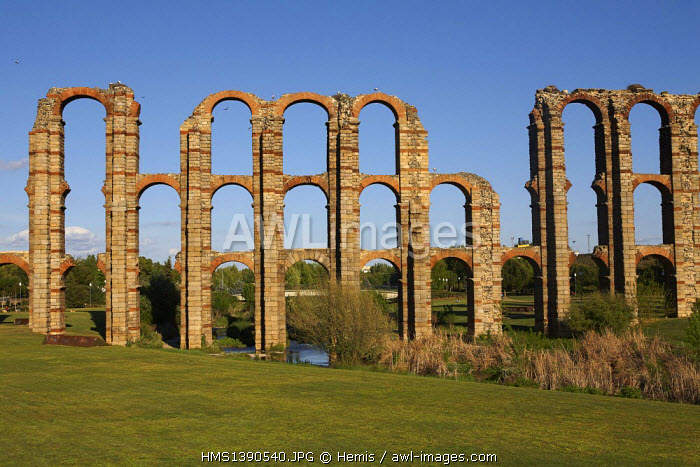 Spain, Extramadura, Merida, Roman Aqueduct of Los Milagros, part of the Archaeological Ensemble listed as World Heritage by UNESCO