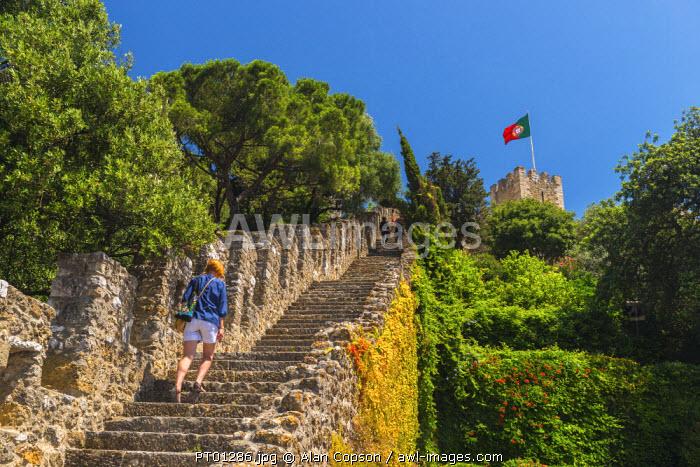 Portugal, Lisbon, Alfama District, Castelo de Sao Jorge