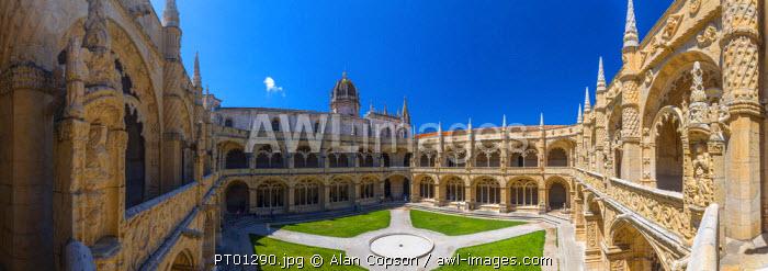 Portugal, Lisbon, Belem, Mosteiro dos Jeronimos (Jeronimos Monastery or Hieronymites Monastery), UNESCO World Heritage Site, Cloisters