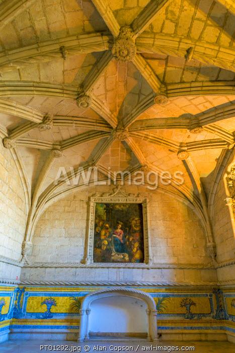 Portugal, Lisbon, Belem, Mosteiro dos Jeronimos (Jeronimos Monastery or Hieronymites Monastery), UNESCO World Heritage Site, Ancient Refectory (Antigo Refeitorio)