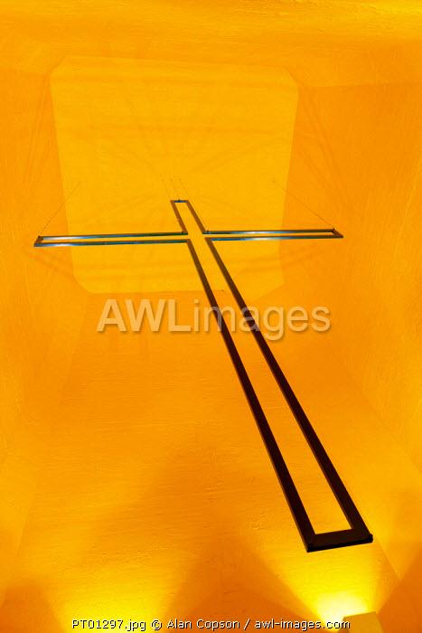Portugal, Lisbon, Setubal, Cristo Rei or Christ the King statue, huge Cross hung high in vestibule