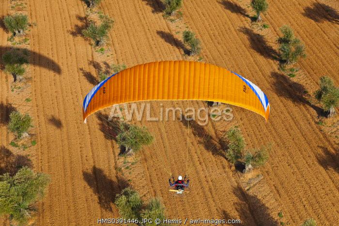 Spain, Community of Madrid, Chinchon, paraglider