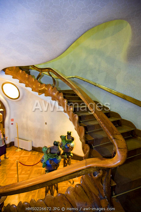 Spain, Catalunya, Barcelona, La Pedrera or Casa Mila by architect Antoni Gaudi listed as World Heritage by UNESCO