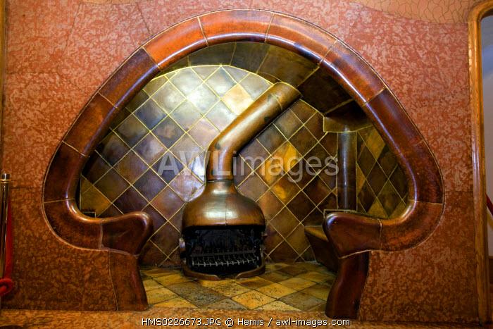Spain, Catalunya, Barcelona, Casa Battlo by architect Antoni Gaudi listed as World Heritage by UNESCO