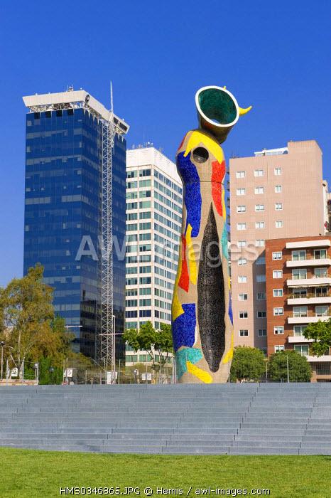 Spain, Catalonia, Parc de l'Escorxador, Barcelona La dona i l'ocell (The Woman and The Bird) by Joan Mir�