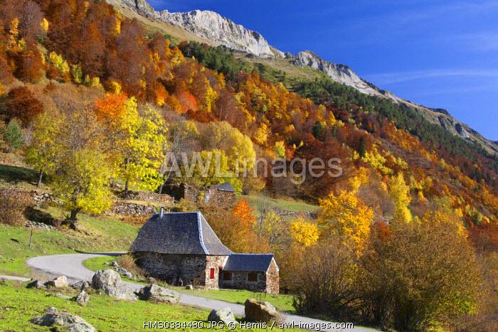 Spain, Catalonia, Val d'Aran, Vielha, barns in Barrados valley