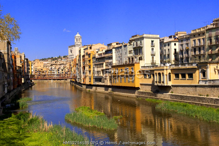 Spain, Catalonia, Costa Brava, Girona, ancient buildings on the banks of Rio Onyar with cathedral Santa Maria in the background