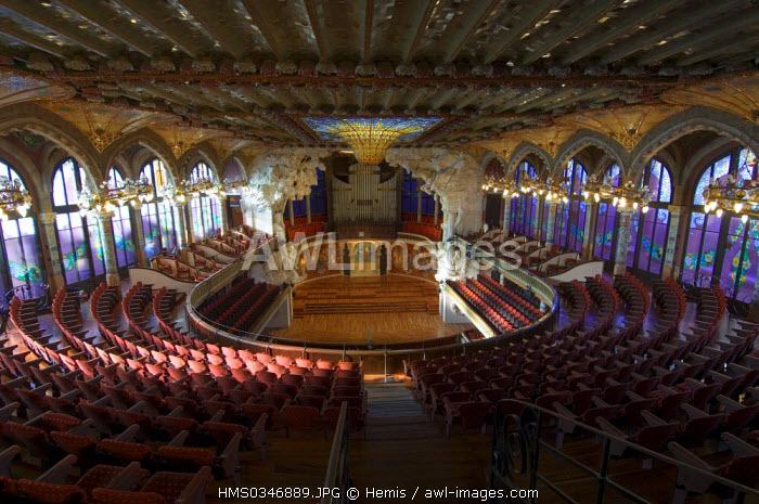 Spain, Catalonia, Barcelona, the Palau de la Musica Catalana (Palace of Catalan Music) listed as World Heritage by UNESCO, Modernist architecture by architect Domenech i Montaner, concert hall