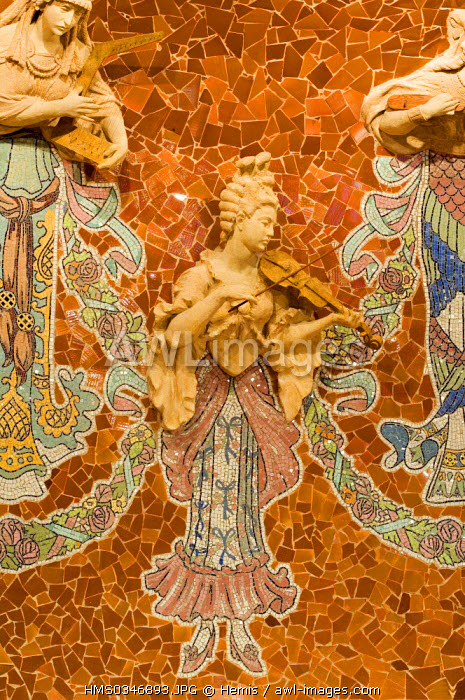 Spain, Catalonia, Barcelona, the Palau de la Musica Catalana (Palace of Catalan Music) listed as World Heritage by UNESCO, Modernist architecture by architect Domenech i Montaner, detail of high relief