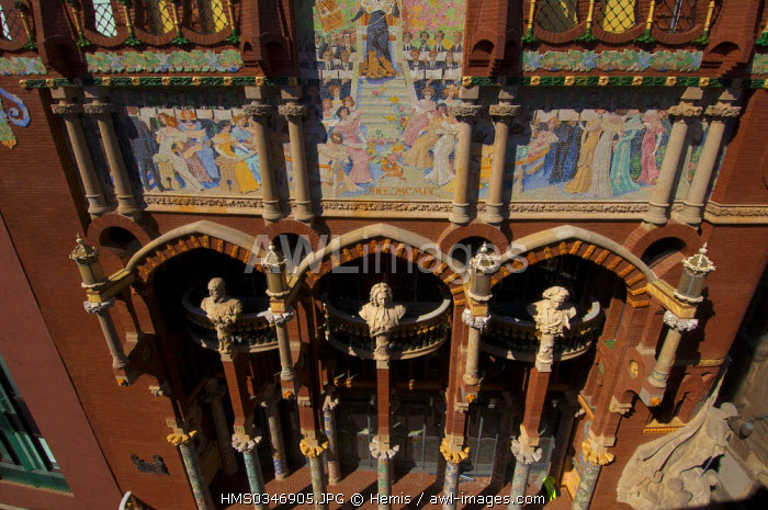 Spain, Catalonia, Barcelona, the Palau de la Musica Catalana (Palace of Catalan Music) listed as World Heritage by UNESCO, Modernist architecture by architect Domenech i Montaner, facade