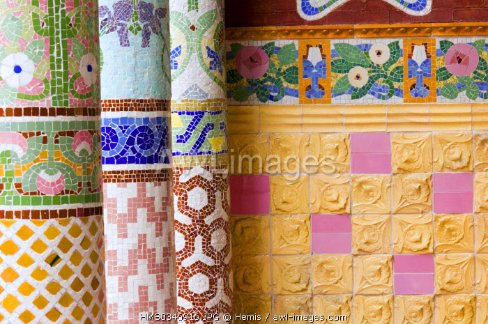 Spain, Catalonia, Barcelona, the Palau de la Musica Catalana (Palace of Catalan Music) listed as World Heritage by UNESCO, Modernist architecture by architect Domenech i Montaner, detail columns