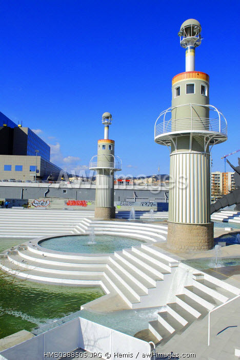 Spain, Catalonia, Barcelona, the park of Industrial Espanya by Luis Pena Ganchegui on the ground of a former textile factory (Espanya Industrial) in the district of the Sants Station