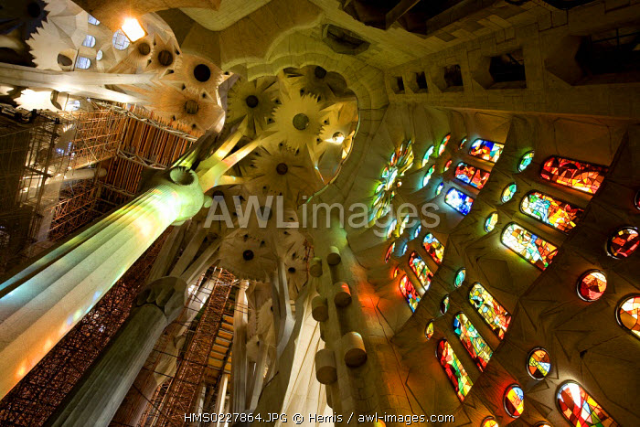 Spain, Catalonia, Barcelona, Sagrada Familia by architect Antoni Gaudi, listed as World Heritage by UNESCO