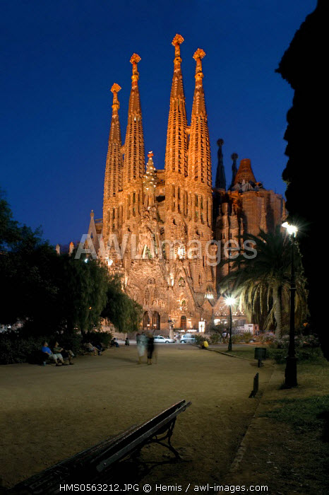 Spain, Catalonia, Barcelona, Sagrada Familia by architect Gaudi, listed as World Heritage by the UNESCO