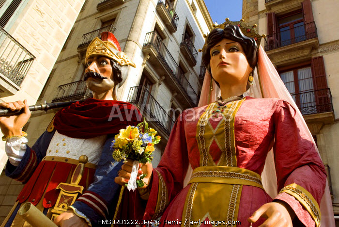 Spain, Catalonia, Barcelona, Placa de Sant Jaume, La Merce Festival (each year in September), parade of the Giants