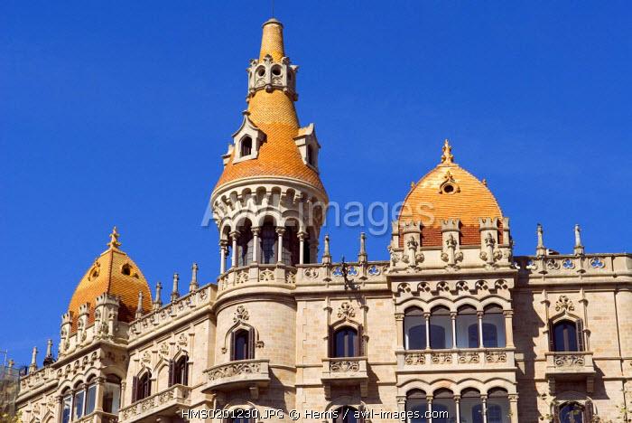 Spain, Catalonia, Barcelona, Passeig de Gracia, Casas Rocamoras, modernist building and its conical tower