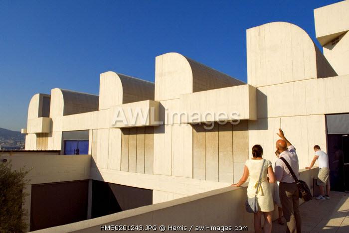Spain, Catalonia, Barcelona, Montjuic, Placa de Neptu, the Fundacio Joan Miro by architect Josep Lluis Sert, the terrace