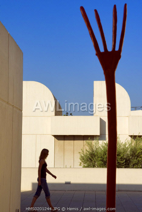 Spain, Catalonia, Barcelona, Montjuic, Placa de Neptu, the Fundacio Joan Miro by architect Josep Lluis Sert, the terrace and one of Miro 's work