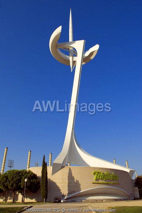 Spain, Catalonia, Barcelona, Montjuic, Torre Telefonica or telephone tower by architect Santiago Calatrava