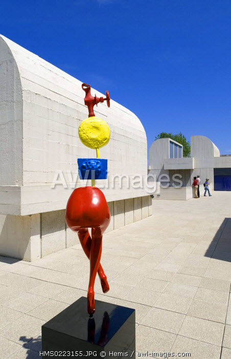 Spain, Catalonia, Barcelona, Montjuic, Placa de Neptu, Joan Miro Foundation by architect Josep Lluis Sert, Miro's artwork on the terrace