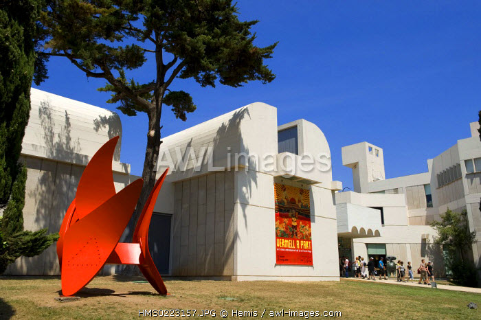 Spain, Catalonia, Barcelona, Montjuic, Placa de Neptu, Joan Miro Foundation by architect Josep Lluis Sert