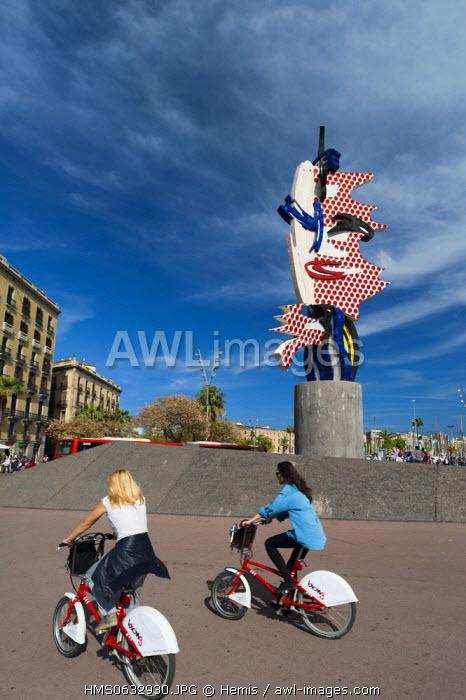 Spain, Catalonia, Barcelona, Placa d'Antoni Lopez, Barcelona Head Sculpture by Roy Lichtenstein