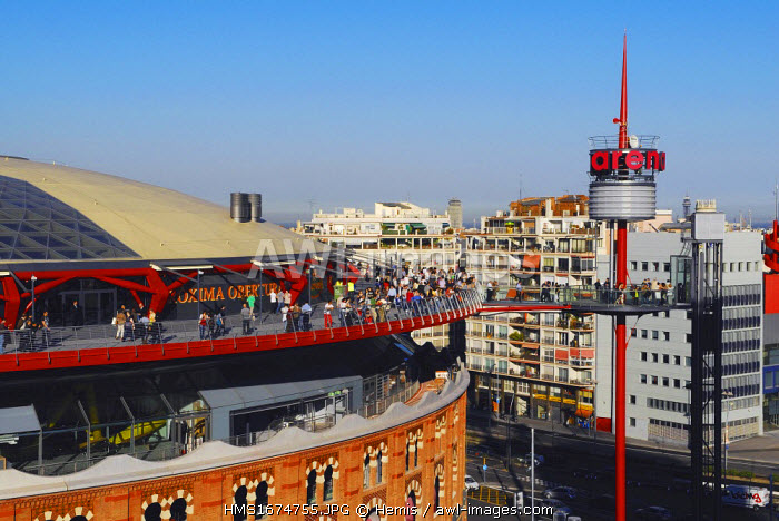 Spain, Catalonia, Barcelona, Placa d'Espanya, shopping center Las Arenas, old bullfighting ring transformed into a commercial complex by the architect Richard Rogers