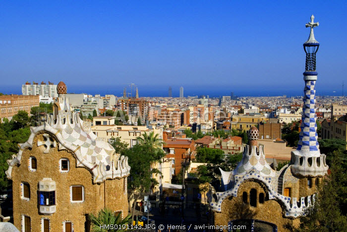 Spain, Catalonia, Barcelona, Gracia district, Park Guell, by architect Antoni Gaudi, listed as World Heritage by UNESCO