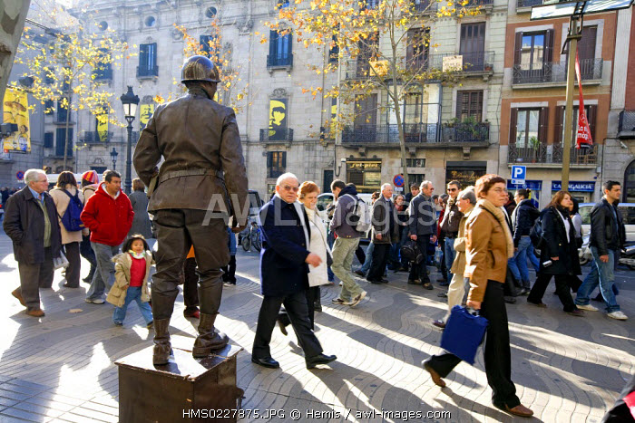 Spain, Catalonia, Barcelona, La Rambla, Performance