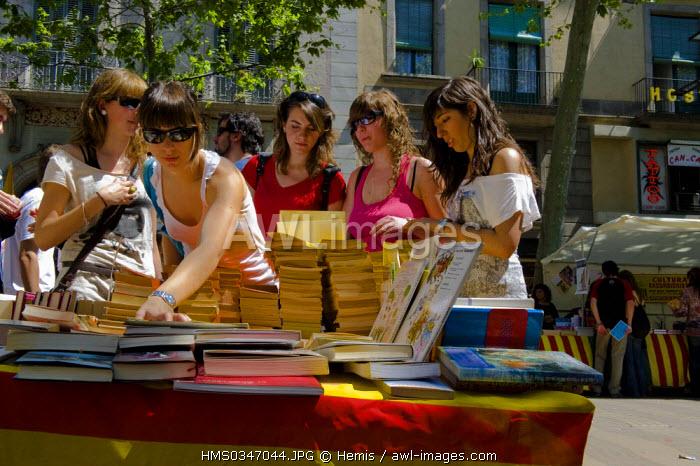 Spain, Catalonia, Barcelona, Las Rambla, Sant Jordi's celebration, 23rd of april, books stand