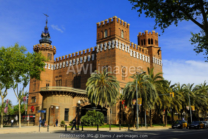 Spain, Catalonia, Barcelona, Los dragones Castle and Zoology museum in the Ciutadella Park by the architect Domenech i Montaner