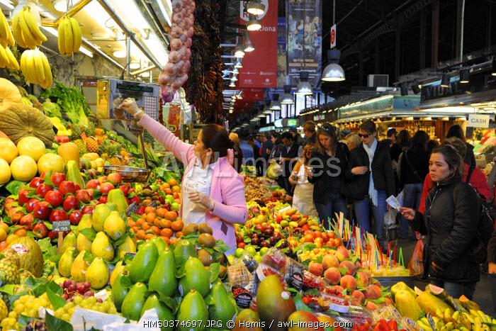 Spain, Catalonia, Barcelona, La Rambla, Boqueria Market