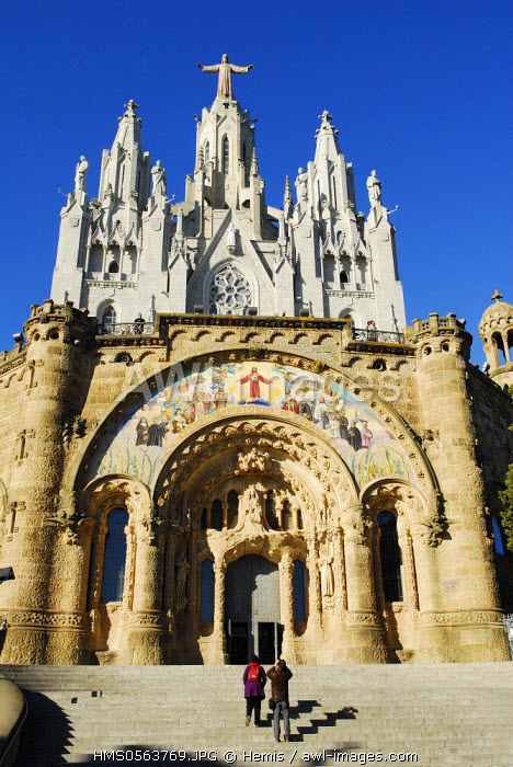 Spain, Catalonia, Barcelona, Expiatory Church of the Sacred Heart of Jesus, located on the Tibidabo hill