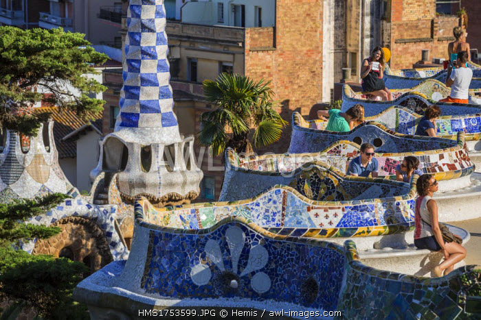 Spain, Catalonia, Barcelona, Gracia district, Park Guell listed as World Heritage by UNESCO by UNESCO, the architect Antoni Gaudi