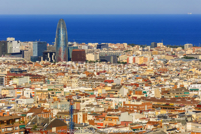 Spain, Catalonia, Barcelona, general view with the Agbar Tower by architect Jean Nouvel