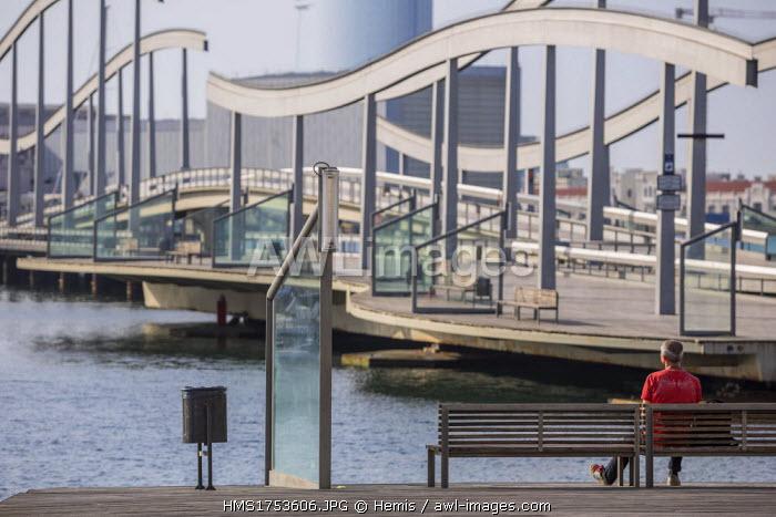 Spain, Catalonia, Barcelona, La Barceloneta, Port Vell, gateways to the Rambla del Mar, the architects Helio Pinon and Albert Viaplana