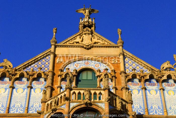Spain, Catalonia, Barcelona, El Guinardo District, Hospital de la Santa Creu i de Sant Pau listed as World Heritage by UNESCO, with Modernist Style by architect Domenech i Montaner