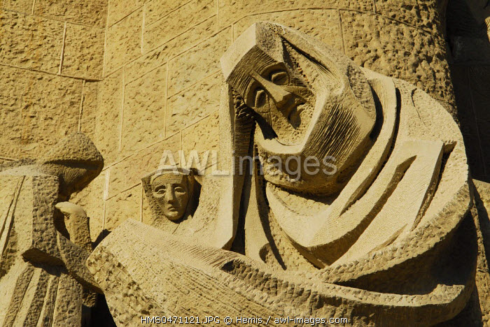 Spain, Catalonia, Barcelona, Eixample district, the Sagrada Familia by architect Antoni Gaudi, listed as World Heritage by UNESCO, the passion fa�ade, a work of art by Catalan sculptor Josep Maria Subirachs